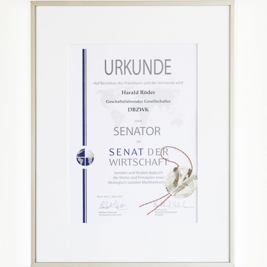 Urkunde Senat der Wirtschaft