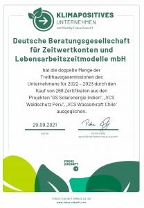 Zertifikat Klimapositivität